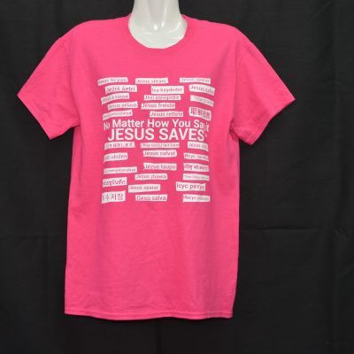 Pink T-Shirt With White Writing