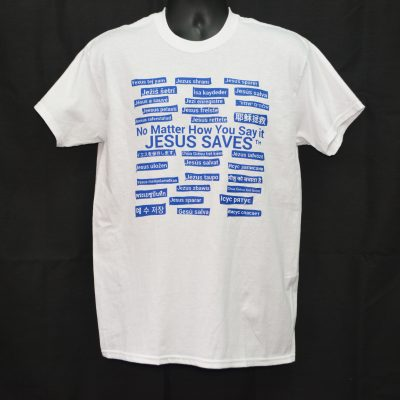 White T-shirt With Blue Writing