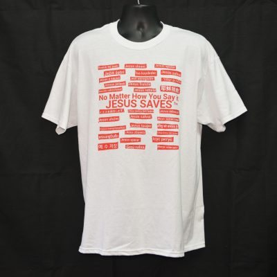 White T-shirt With Red Writing